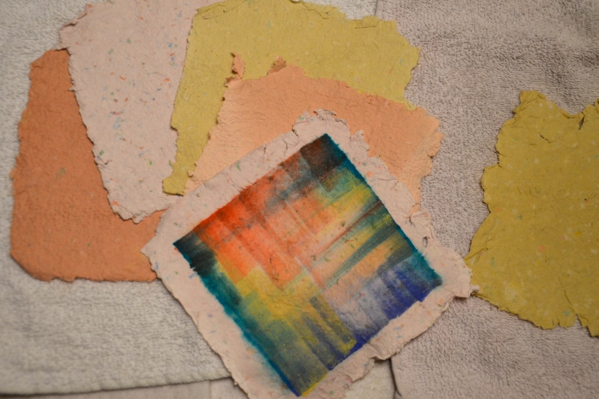 """Watercolor wash on home made paper"""