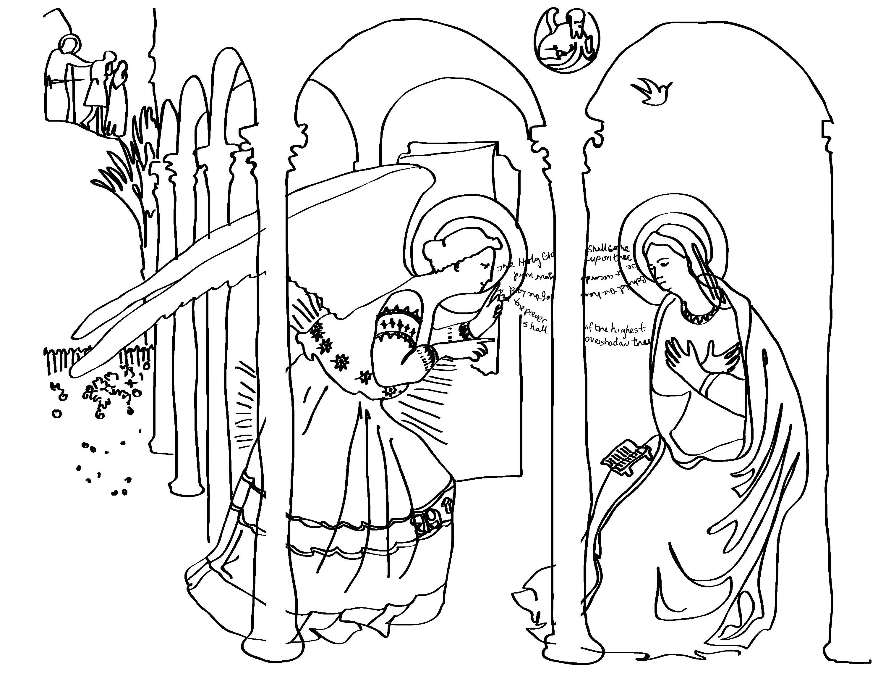 Coloring Pages Renaissance Art Coloring Pages fra angelicos the annunciation art and everyday angelico here is a coloring sheet