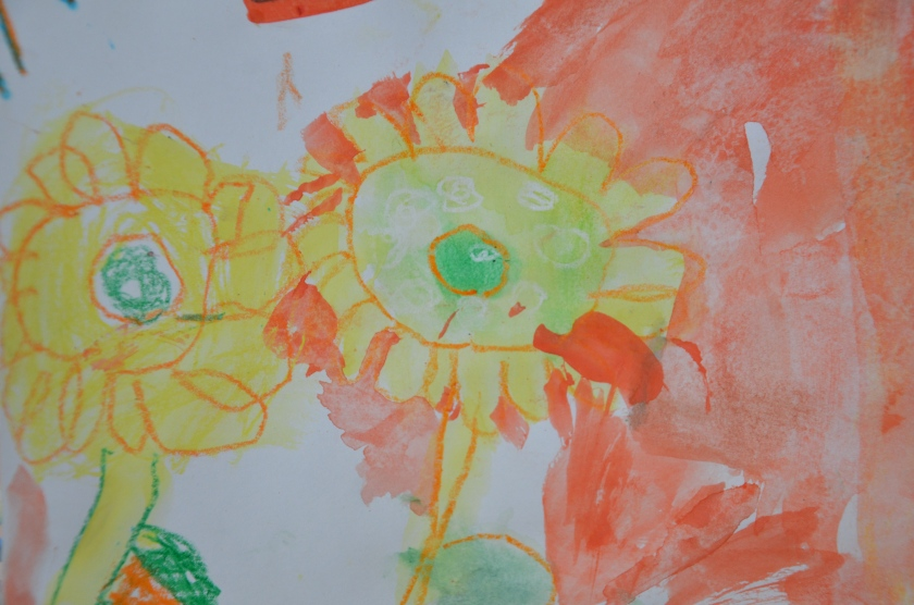 Four Year Old Painting of Sunflowers