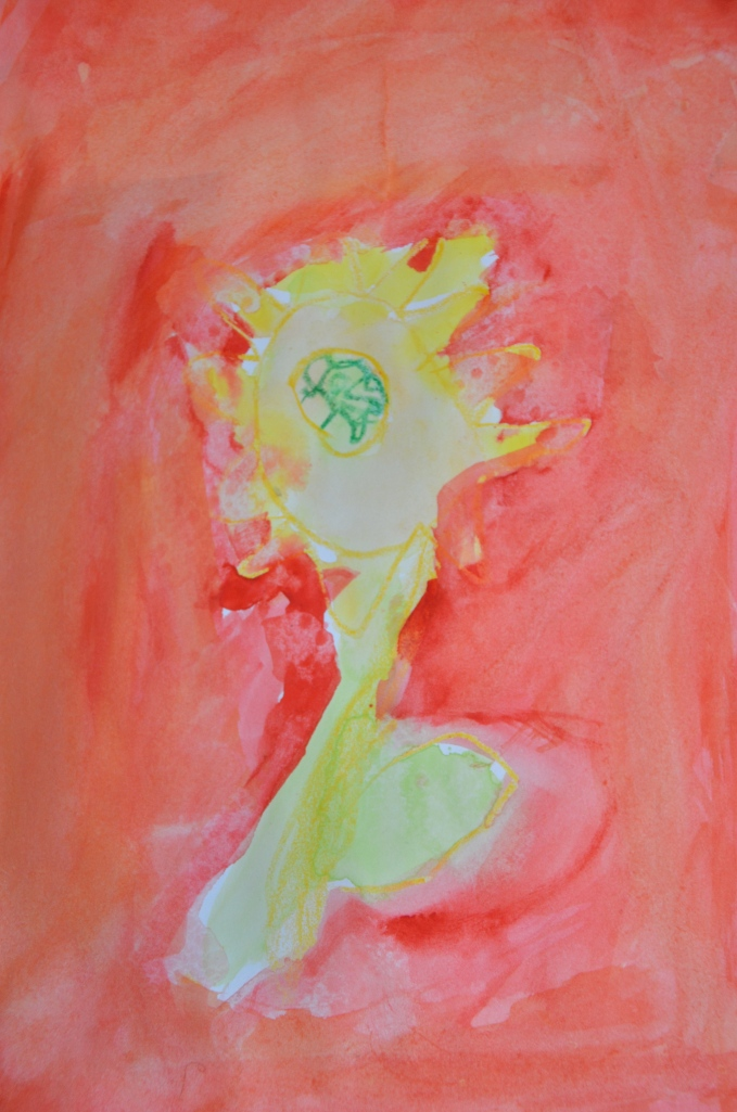 Five Year Old's Painting of Sunflowers