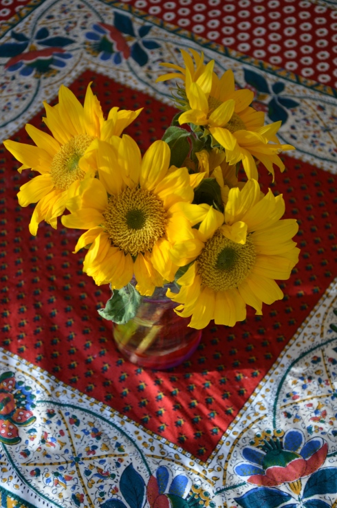 Sunflowers on a French Tablecloth